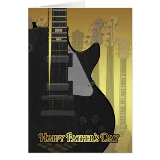 Carte de fête des pères avec la guitare