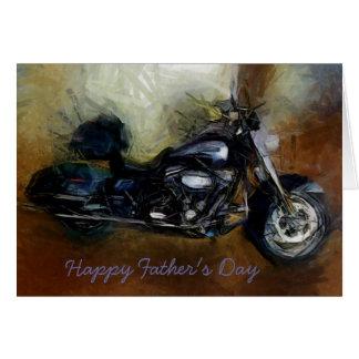 Carte de fête des pères avec la moto de Harley