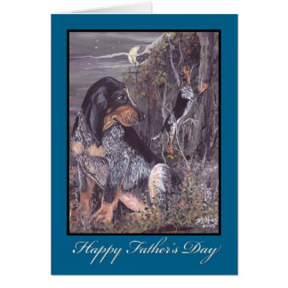 Carte de fête des pères de Coonhound de Bluetick