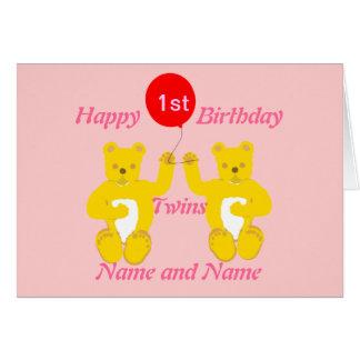 Carte de filles d'anniversaire de jumeaux