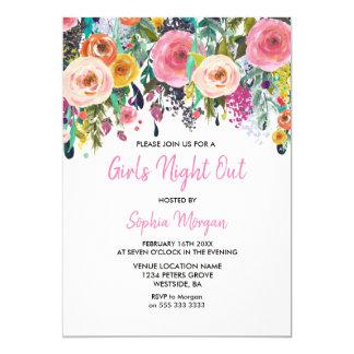 Carte De filles de nuit floraux roses d'invitation