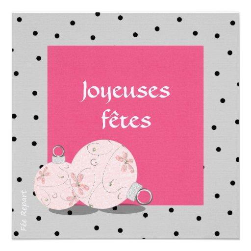 Carte de fin d 39 ann e joyeuses f tes boule d co carton d for Decoration fete de fin d annee