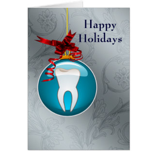carte de fin de année bleu argenté de dentiste