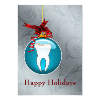 Carte de fin de année bleu de dentiste carton d'invitation  12,7 cm x 17,78 cm