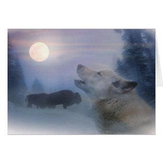 Carte de fin de année loup et Buffalo de Natif