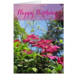 Carte de fleur de joyeux anniversaire