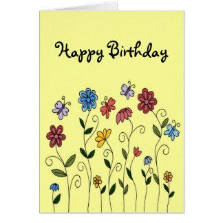 Carte de fleurs et de papillons de joyeux