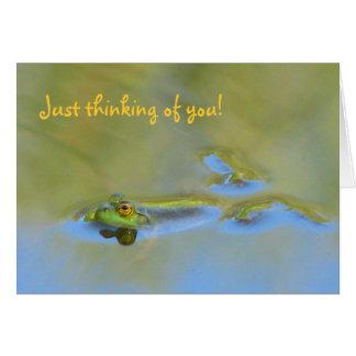 Carte de flottement de grenouille pensant à vous !