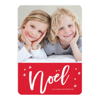 carte de français de Noël de carte Carton D'invitation 12,7 Cm X 17,78 Cm