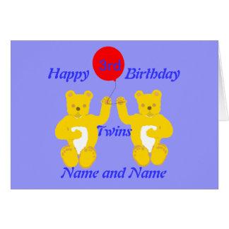 Carte de garçons d'anniversaire de jumeaux