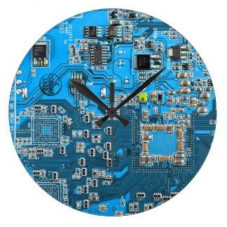 Carte de geek d'ordinateur - bleu grande horloge ronde