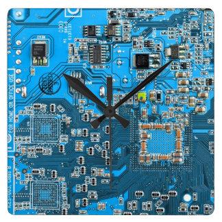 Carte de geek d'ordinateur - bleu horloge carrée