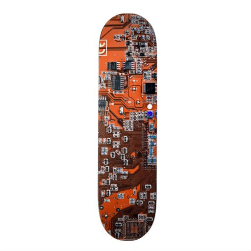 Carte de geek d'ordinateur - orange planches à roulettes customisées