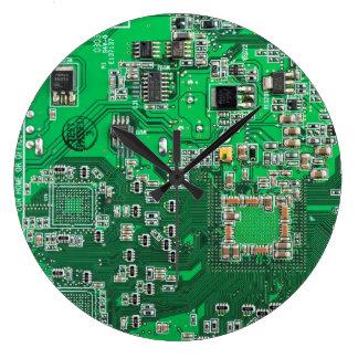 Carte de geek d'ordinateur - vert grande horloge ronde