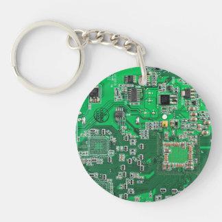 Carte de geek d'ordinateur - vert porte-clé rond en acrylique double face