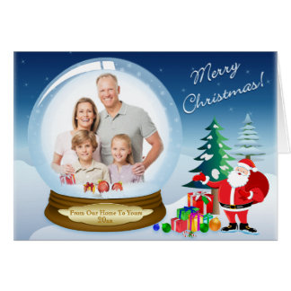Carte de globe de neige de PHOTO de Noël du père