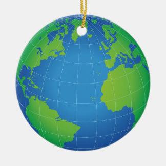 Carte de globe du monde ornement rond en céramique