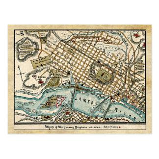 Carte de guerre civile de Richmond, la Virginie en