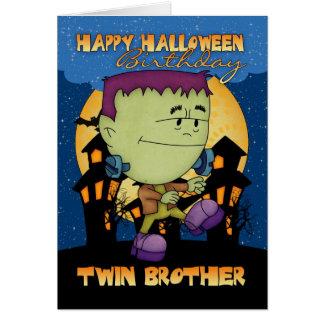 carte de Halloween d anniversaire de frère jumeau