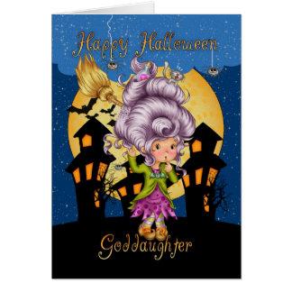 carte de Halloween de filleule avec la sorcière