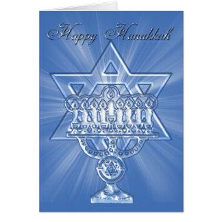 carte de hannukah avec l'étoile et les bougies