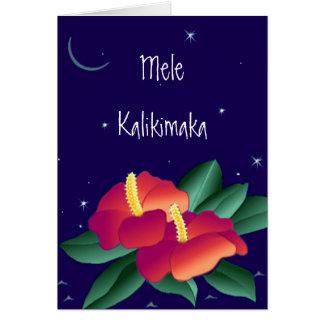 Carte de Hawaïen de Joyeux Noël de Mele Kalikimaka