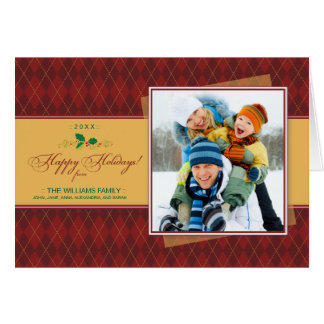 Carte de Jacquard d'hiver bonnes fêtes (rouge)