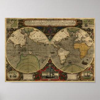 Carte de Jodocus Hondius 1595 du monde Posters