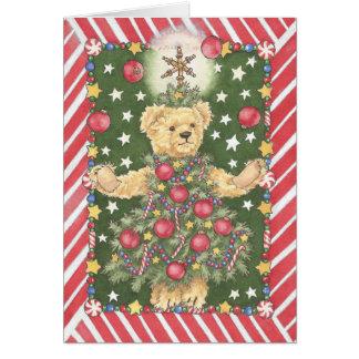 Carte de jongleur d'ours de nounours d'arbre de
