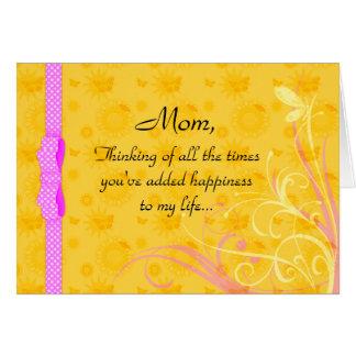 Carte de jour de maman et de mère de bonheur