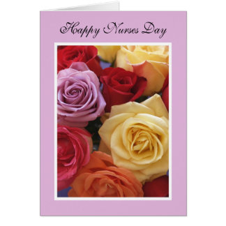 Carte de jour d'infirmières -- Bouquet rose