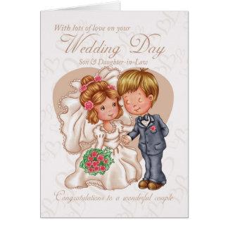 Carte de jour du mariage de fils et de belle-fille