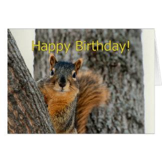 Carte de joyeux anniversaire avec un écureuil