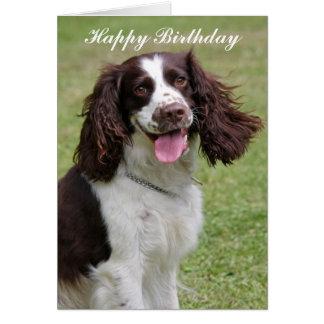 Carte de joyeux anniversaire de chien d'épagneul