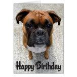 Carte de joyeux anniversaire de chiot de boxeur -