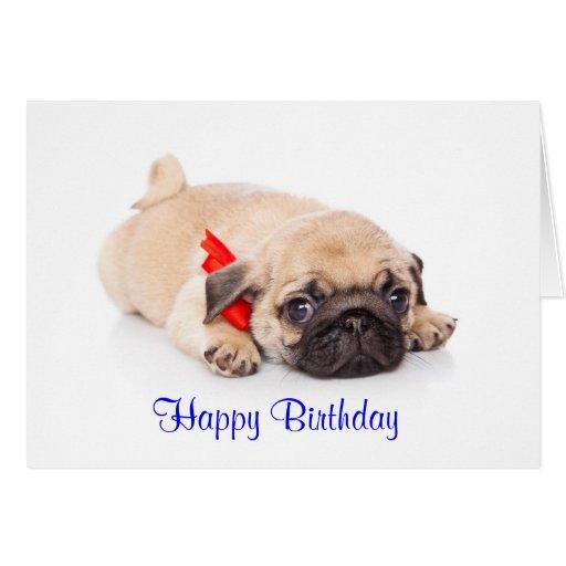 Carte de joyeux anniversaire de chiot de carlin -