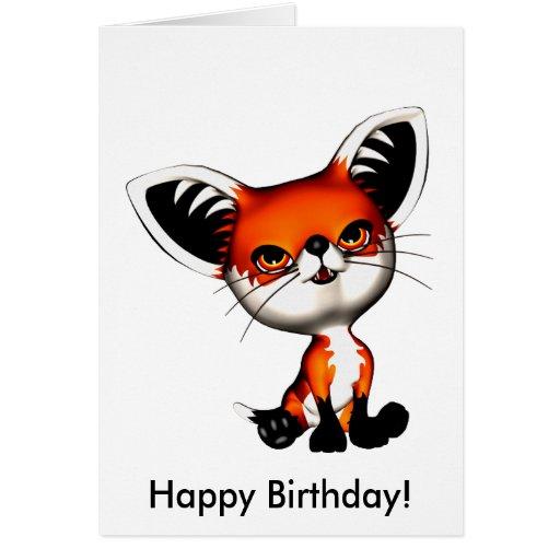 Carte de joyeux anniversaire de Fox de chien de bé