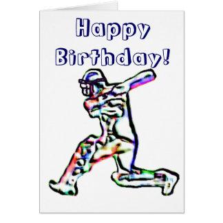 Carte de joyeux anniversaire de joueur de cricket