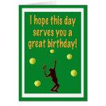 Carte de joyeux anniversaire de joueur de tennis