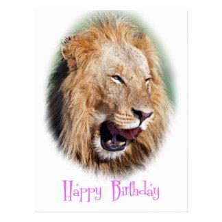 Carte de joyeux anniversaire de lion de sourire