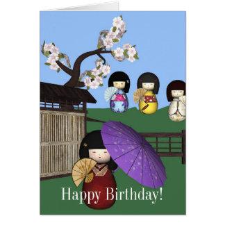 Carte de joyeux anniversaire de poupées de Kokeshi
