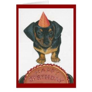 Carte de joyeux anniversaire de teckel
