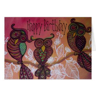 Carte de joyeux anniversaire de trois hiboux