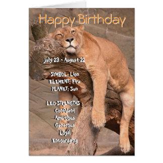Carte de joyeux anniversaire de zodiaque - Lion