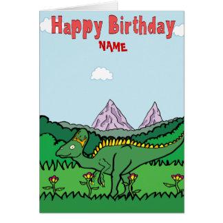 Carte de joyeux anniversaire - Hypacrosaurus vert