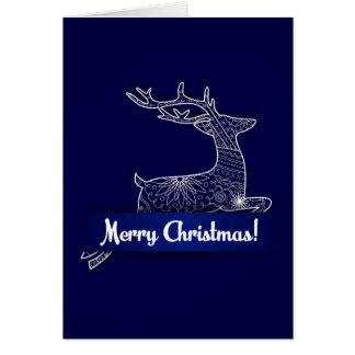 Carte de Joyeux Noël avec des cerfs communs de