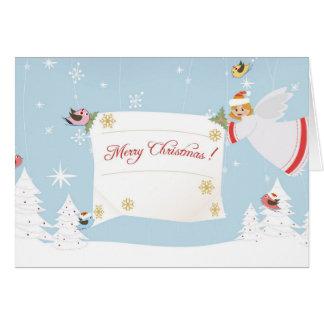 Carte de Joyeux Noël avec l'ange et les oiseaux