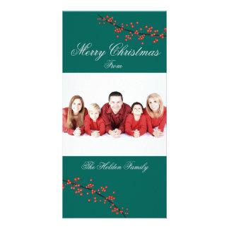 Carte de Joyeux Noël de baie de houx Cartes De Vœux Avec Photo