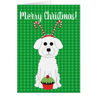 Carte de Joyeux Noël de Bichon Frise