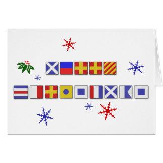 Carte de Joyeux Noël de drapeau de signal nautique